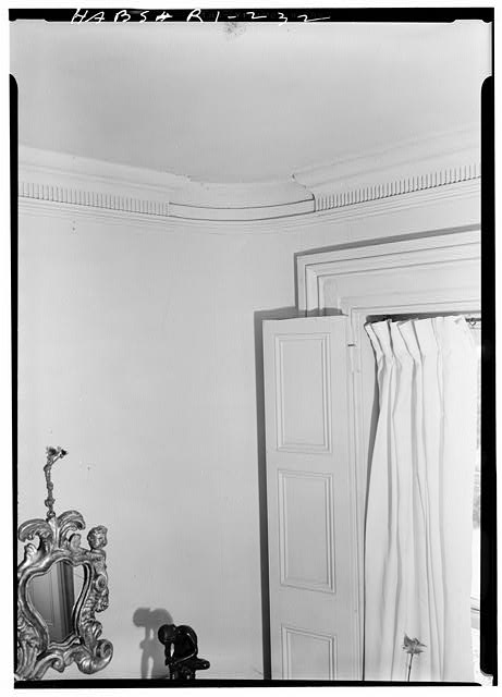 5.  Historic American Buildings Survey, Laurence E. Tilley, Photographer May, 1958 WINDOW SHUTTER AND CEILING CORNICE IN FRONT PARLOR. - Cyrus Ellis House, 31 John Street, Providence, Providence County, RI