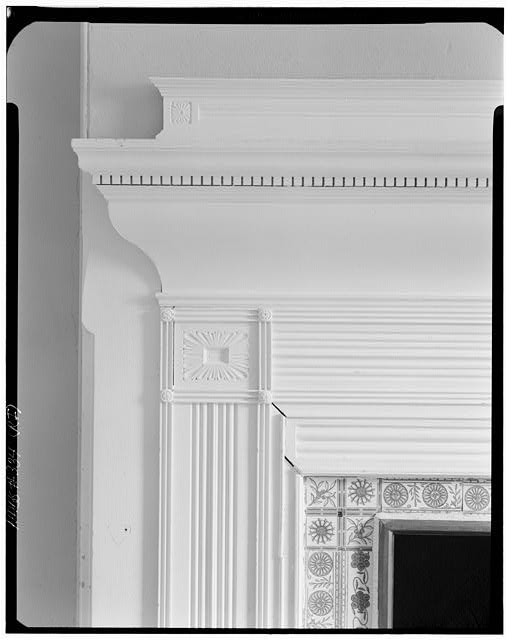 7.  Historic American Buildings Survey, Cervin Robinson, Photographer July 24, 1970 VIEW OF SECOND FLOOR EAST DRESSING ROOM MANTEL. - Charles H. Baldwin House, Bellevue Avenue, Newport, Newport County, RI