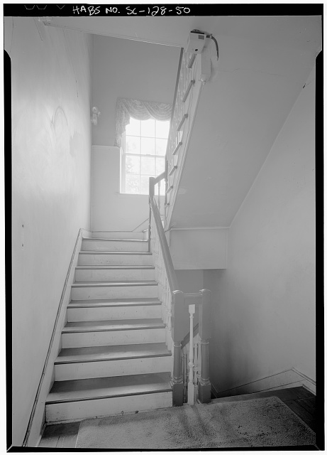 50.  INTERIOR VIEW OF EAST TENEMENT STAIR, FIRST FLOOR, LOOKING EAST - Daniel Blake Tenement, 6-8 (2-4) Courthouse Square, Charleston, Charleston County, SC
