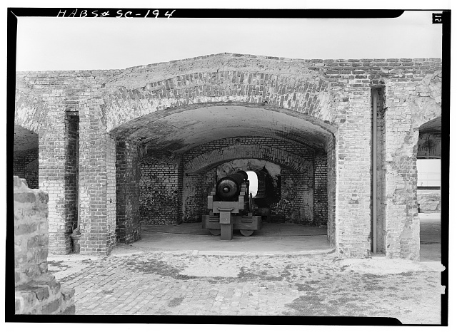 17.  February, 1963 CASEMATE IN LEFT FLANK WITH MOUNTED 42-POUNDER CANNON. - Fort Sumter, Charleston, Charleston County, SC