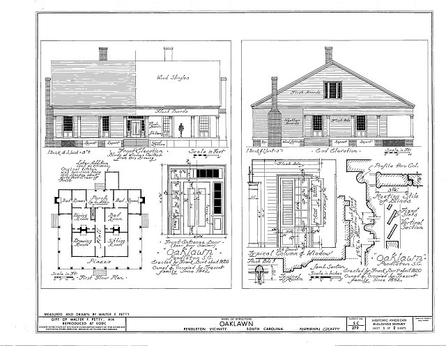 Front & End Elevation, First Floor Plan - Oaklawn, Pendleton, Anderson County, SC