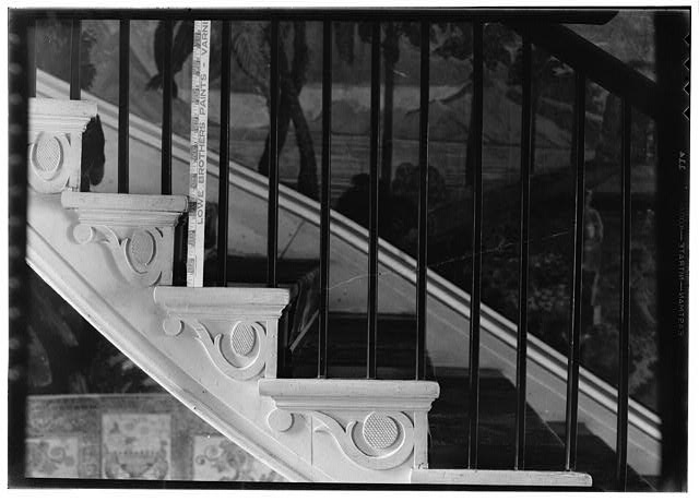 21.  Historic American Buildings Survey, W. Jeter Eason- Deputy District Officer, Photographer November 21, 1936 DETAIL OF DECORATIVE STAIR RISERS. - The Hermitage, U.S. Highway 70 North (4580 Rachel's Lane), Nashville, Davidson County, TN