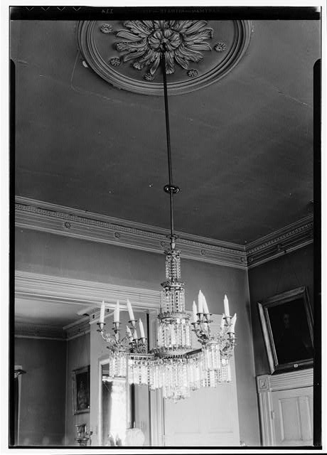 24.  Historic American Buildings Survey, W. Jeter Eason- Deputy District Officer, Photographer November 21, 1936 PLASTER ORNAMENT ON CEILING AND PLASTER CORNICE BACK PARLOR (FRONT PARLOR SIMLAR). - The Hermitage, U.S. Highway 70 North (4580 Rachel's Lane), Nashville, Davidson County, TN