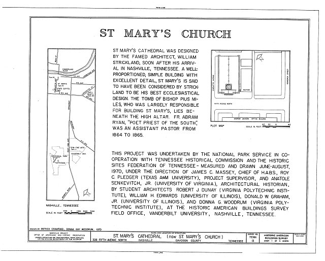 HABS TENN,19-NASH,8- (sheet 1 of 6) - St. Mary's Cathedral, 328 Fifth Avenue, North, Nashville, Davidson County, TN