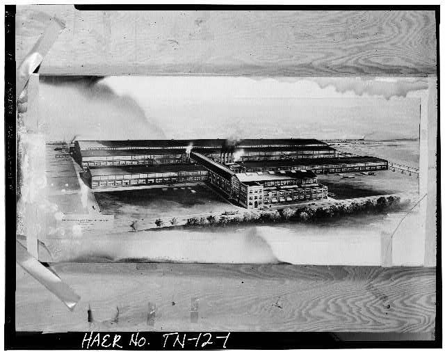 1.  BIRD'S-EYE VIEW OF THE PLANT, LOOKING FROM THE NORTHWEST (ARTIST'S RENDERING) - Southern Engine & Boiler Works, 342 North Royal Street, Jackson, Madison County, TN
