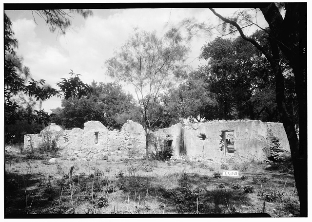 8.  Historic American Buildings Survey, Arthur W. Stewart, Photographer, April 13, 1936 WEST ELEVATION OF RUINS OF INDIAN QUARTERS. - Mission San Juan de Capistrano, Berg's Mill-Graf Road, San Antonio, Bexar County, TX