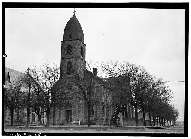2.  Historic American Buildings Survey, Emil Niggli, Photographer January 17, 1934 GENERAL VIEW FROM SOUTH. - Old St. Mary's Catholic Church, San Antonio Street, Fredericksburg, Gillespie County, TX