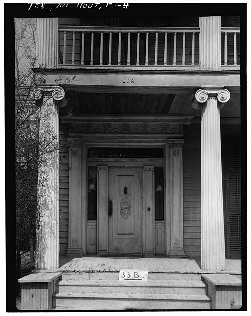 4.  Historic American Buildings Survey, James I. Campbell, Photographer February 20, 1934 DETAIL OF FRONT ENTRANCE. - Nichols-Rice-Cherry House, Sam Houston Park (moved from San Jacinto Street), Houston, Harris County, TX