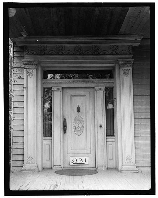 5.  Historic American Buildings Survey, James I. Campbell, Photographer February 20, 1934 CLOSE-UP OF FRONT ENTRANCE. - Nichols-Rice-Cherry House, Sam Houston Park (moved from San Jacinto Street), Houston, Harris County, TX