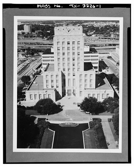 1.  Aerial view,east (principal) elevation - Houston City Hall, 901 Bagby Street, Houston, Harris County, TX