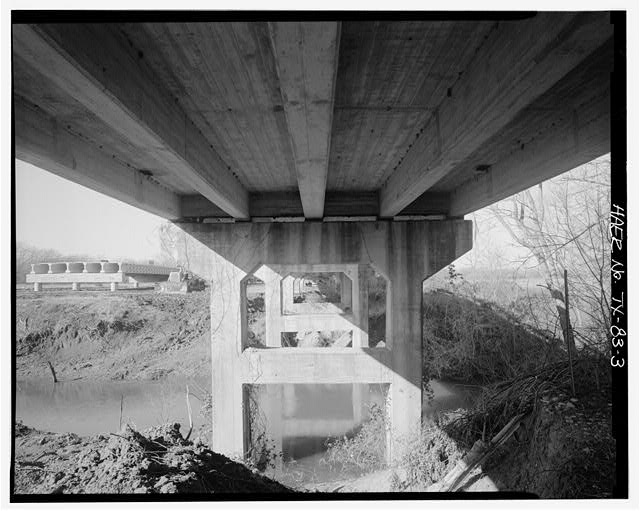 3.  VIEW OF NORTH BOSQUE RIVER BRIDGE, SUBSTRUCTURE AND PIER, LOOKING WEST. - North Bosque River Bridge, Spanning North Bosque River at State Highway 6, Clairette, Erath County, TX