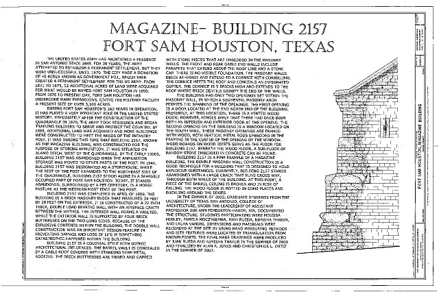 Statement of Significance - Fort Sam Houston, Magazine Building, San Antonio, Bexar County, TX