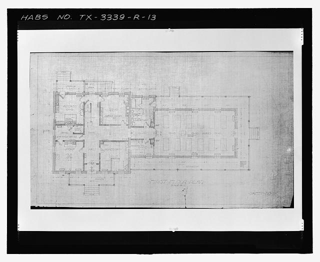 Photographic copy of Sheet No. 5 (undated): FIRST FLOOR PLAN - Fort Bliss, Post Hospital, Pershing Road, El Paso, El Paso County, TX