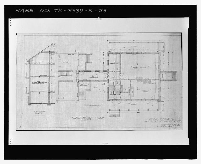 Photographic copy of Sheet No. 3 (1915): FIRST FLOOR PLAN - Fort Bliss, Post Hospital, Pershing Road, El Paso, El Paso County, TX