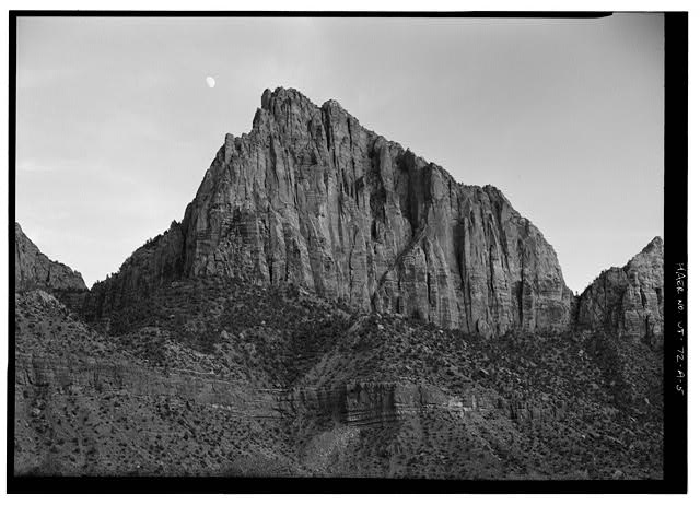 5.  View of The Watchman, principal rock formation near south entrance - South Entrance Sign, Zion-Mt. Carmel Highway at south park boundary, Springdale, Washington County, UT