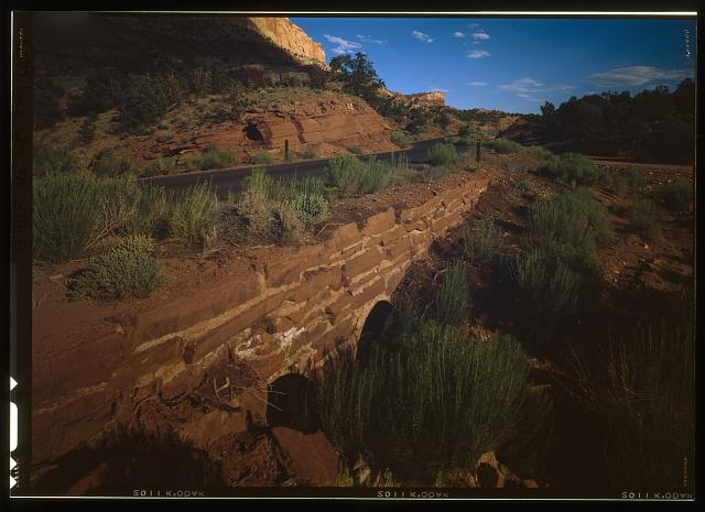 9. Double culvert on scenic road, facing southeast - Capitol Reef National Park Roads & Bridges, Along State Route 24 between Torrey & Cainesville, Torrey, Wayne County, UT