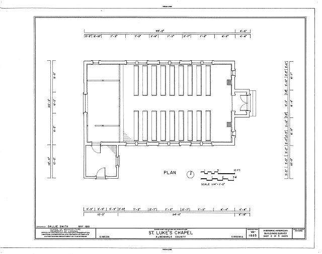 HABS VA,2-SIM,2- (sheet 2 of 5) - St. Luke's Chapel, State Route 53 & State Route 732, Simeon, Albemarle County, VA