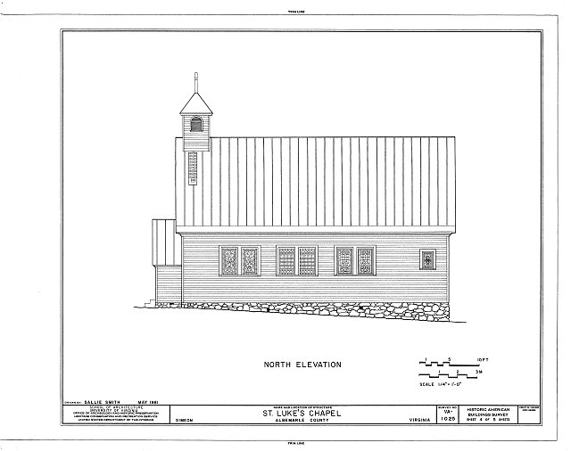 HABS VA,2-SIM,2- (sheet 4 of 5) - St. Luke's Chapel, State Route 53 & State Route 732, Simeon, Albemarle County, VA