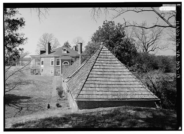 GENERAL VIEW FROM EAST MOUND, PAST DAIRY AND SUMMER KITCHEN TO HOUSE (1986) - Poplar Forest, State Route 661, Forest, Bedford County, VA