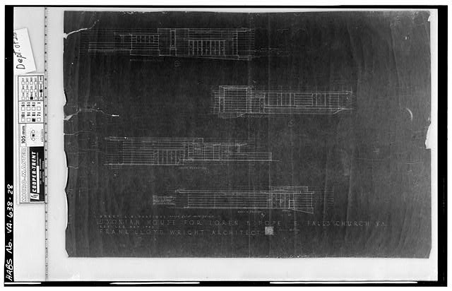 28.  Photocopy of measured drawing (original at Taliesin West, Scottsdale, Arizona) - Pope-Leighey House, 9000 Richmond Highway (moved from Falls Church, VA), Mount Vernon, Fairfax County, VA