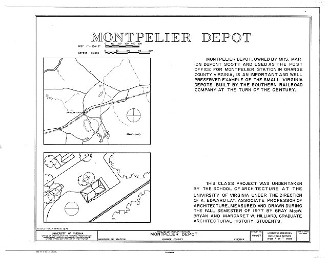 Location map, site plan, and statement of significance - Montpelier Depot, State Route 20 at Orange County Road 639, Montpelier Station, Orange County, VA