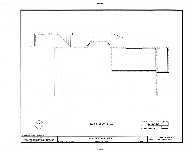 Basement plan - Montpelier Depot, State Route 20 at Orange County Road 639, Montpelier Station, Orange County, VA