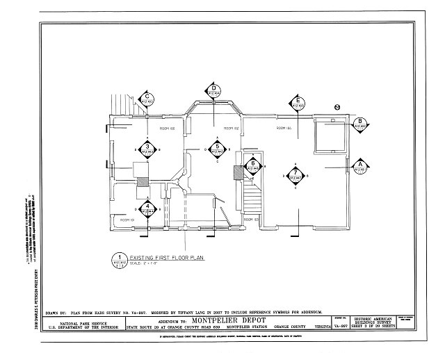 Existing First Floor Plan - Montpelier Depot, State Route 20 at Orange County Road 639, Montpelier Station, Orange County, VA