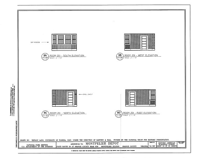 Elevations of Room 201 - Montpelier Depot, State Route 20 at Orange County Road 639, Montpelier Station, Orange County, VA
