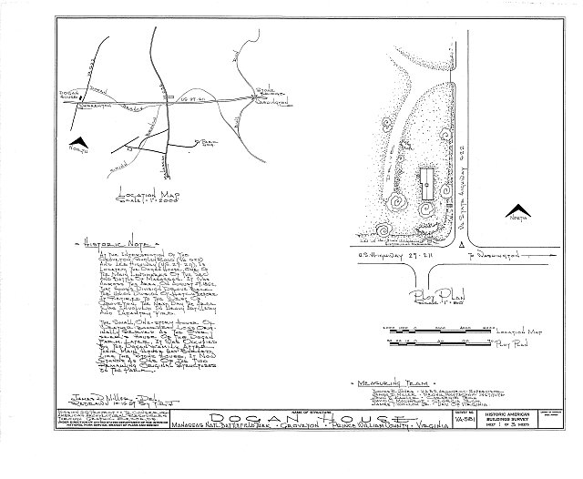 HABS VA,76-GROV,3- (sheet 1 of 3) - Dogan House, U.S. Route 29 & State Route 622, Groveton, Prince William County, VA