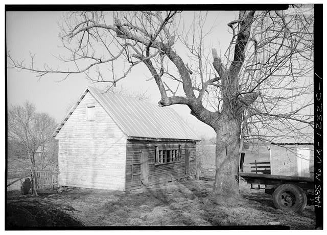 1.  VIEW FROM WEST. Possibly a chicken house. - Ionia, Outbuilding, Route 640 vicinity, Trevilians, Louisa County, VA