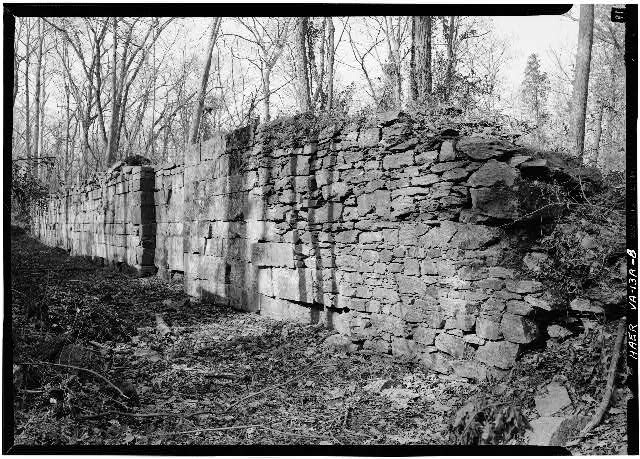 8.  South end of east wall, Lock 1, looking NE. 1971. - Potowmack Company: Great Falls Canal, Lock No. 1, Great Falls, Fairfax County, VA