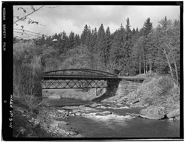 11.  VIEW FROM THE EAST - Elm Street Bridge, Spanning Ottauquechee River, Woodstock, Windsor County, VT
