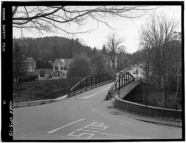 13.  VIEW FROM THE NORTH - Elm Street Bridge, Spanning Ottauquechee River, Woodstock, Windsor County, VT