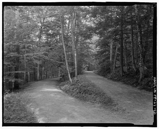 INTERSECTION OF UPPER AND LOWER POGUE ROAD. VIEW ESE - Marsh-Billings-Rockefeller Carriage Roads, Woodstock, Windsor County, VT