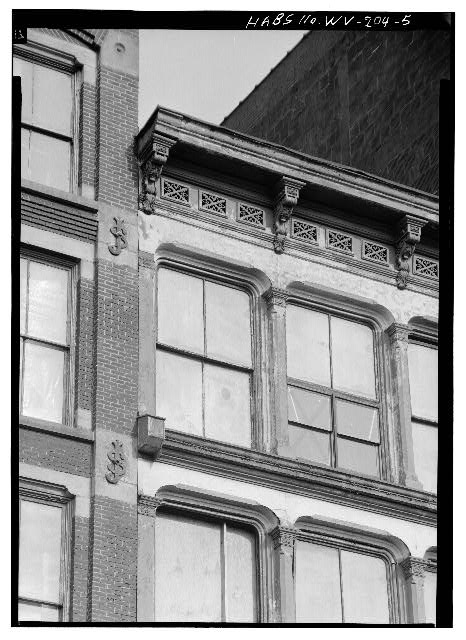 5.  DETAIL OF UPPER PORTION OF REAR (WEST) WALL - Joseph Speidel & Company Building, 1417 Main Street, Wheeling, Ohio County, WV