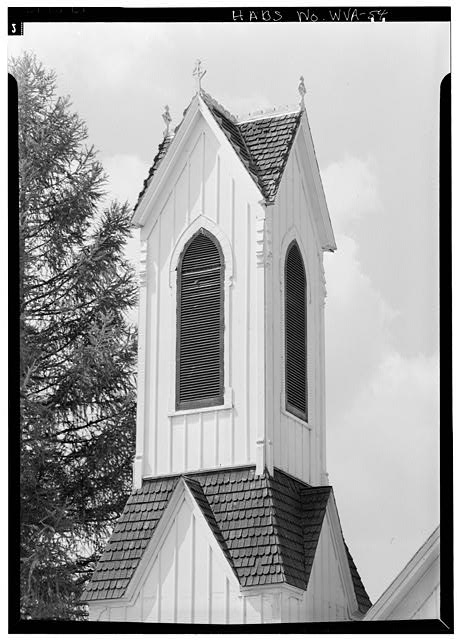 Tower Detail - Dunmore Methodist Church, State Route 28, Dunmore, Pocahontas County, WV