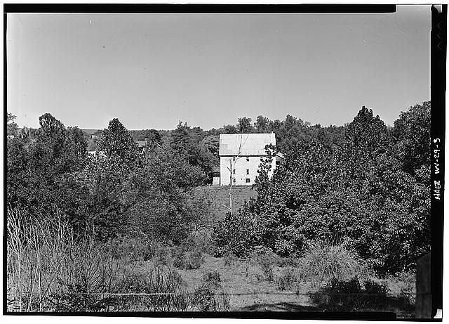 3.  Credit WS. View of Bunker Hill Mill from the east, along Mill Road. - Bunker Hill Mill, County Route 26, Bunker Hill, Berkeley County, WV