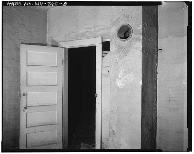 8.  Attic, inside small room in southwest corner, looking north - Campbells Creek Coal Company Store, 54 Port Amherst Drive, Campbells Creek vicinity, Charleston, Kanawha County, WV