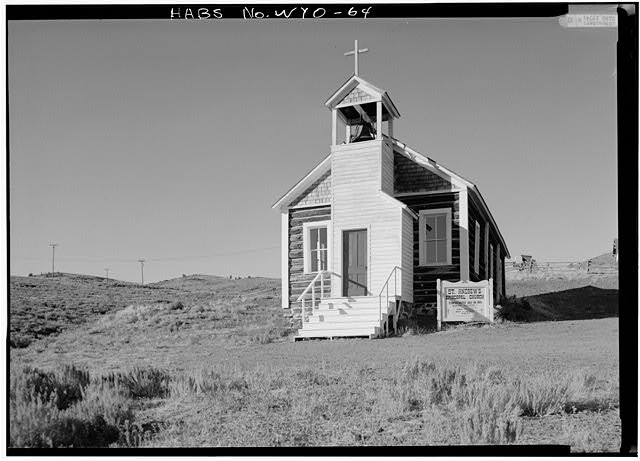 General view of front facade from southeast - St. Andrew's Episcopal Church, Atlantic City, Fremont County, WY