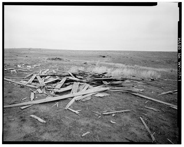 1.  SITE OF BARN WITH DUGOUT IN BACKGROUND, VIEW TO SOUTHWEST - Rock Well Homestead, 15 miles Southeast of Wright, Wright, Campbell County, WY