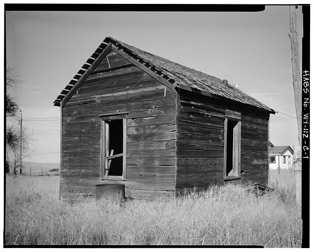 1.  WEST REAR AND SOUTH SIDE - Dunlap Ranch, Bunkhouse, Gillette, Campbell County, WY