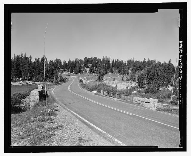 View of the bridge from the east end, looking west, showing construction - Beartooth Highway, Long Lake Bridge, Spanning Long Lake outlet on U.S. Highway 212 at Milepost 31.2, Cody, Park County, WY