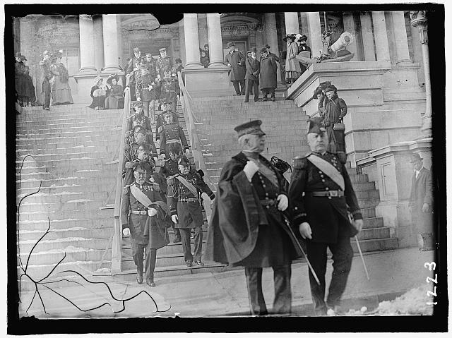NEW YEAR'S RECEPTION AT WHITE HOUSE. GENERAL MILES, LEFT, AND GEN. WOOD, RIGHT FRONT, LEADING ARMY OFFICERS TO RECEPTION