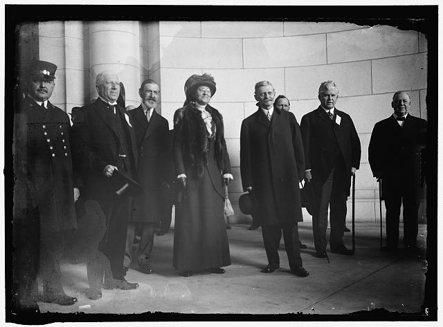 MARSHALL, THOMAS RILEY. GOVERNOR OF INDIANA, 1909-1913; VICE PRESIDENT OF THE UNITED STATES, 1913-1921. ARRIVAL FOR INAUGURATION: B.F. MacFARLAND; SEN. J.W. KERN OF INDIANA; MRS. MARSHALL; GOV. THOMAS R. MARSHALL; REP. H.T. RAINEY