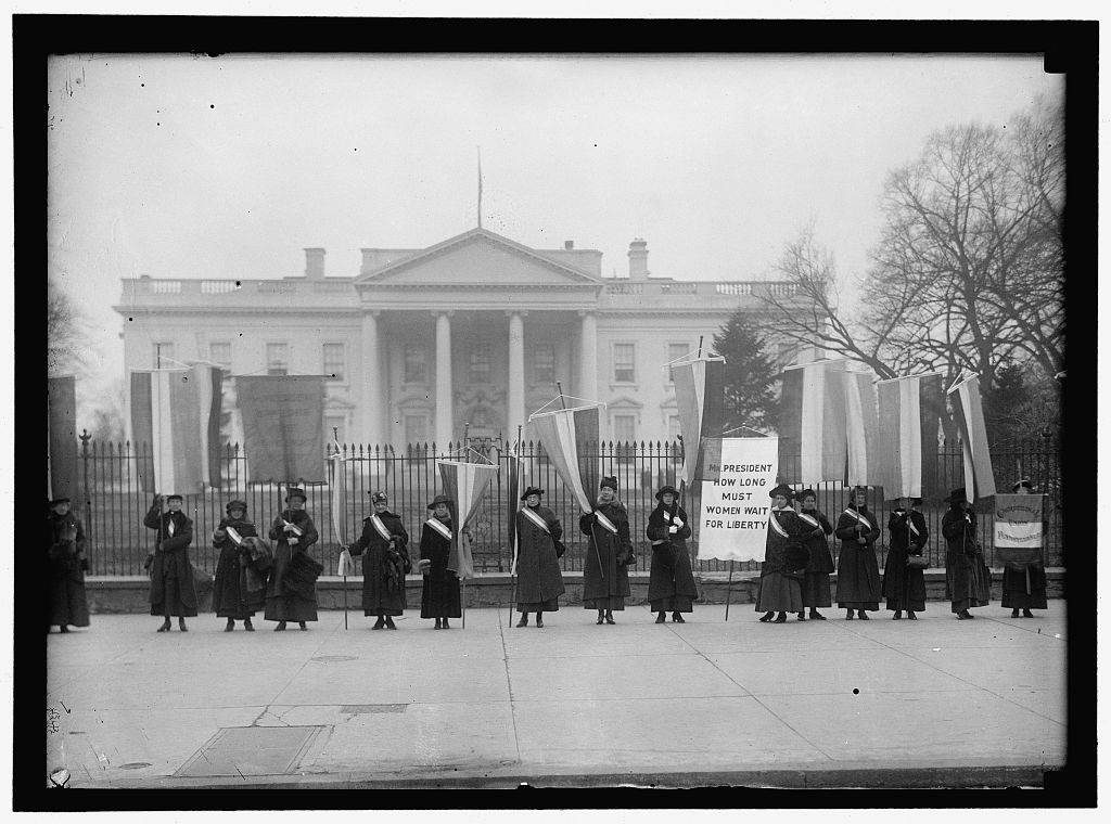 Woman Suffrage Pickets at White House by Harris & Ewing, 1917. Prints and Photographs Division, Library of Congress