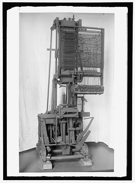 MERGENTHALER, OTTMAR, 2ND LINOTYPE MACHINE WITH BAND, INVENTED BY HIM; 3RD DESIGN HE INVENTED. AT SMITHSONIAN