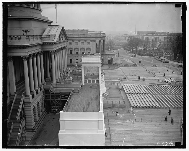 Capitol inaugural stands. Washington D.C. The Inaugural stands on the east side of the Capitol, where President Roosevelt will take his second oath of office on January 20