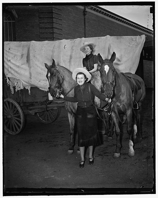 Ride 'em cowboy. Washington, D.C., March 11. Cast as hard-riding cowgirls, Agnes Doherty, (on horse) niece of Senator Joseph C. O'Mahoney, and Cuyler Schwartz, daughter of Senator H.H. Schwartz of Wyoming, will take a prominent part in the society circus to be held at Fort Myer, Va., late this month. Proceeds from the show will be given to charity, 3/11/1937