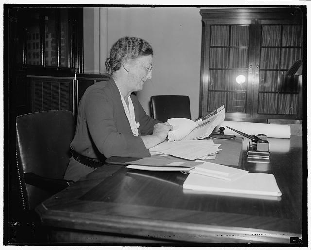 New Social Security board member. Washington, D.C., Aug. 24. Mrs. Mary W. Dewson, Chairman of the Women's Division of the Democratic National Committee, assumed her new duties today as a member of the Social Security Board, 8/24/37