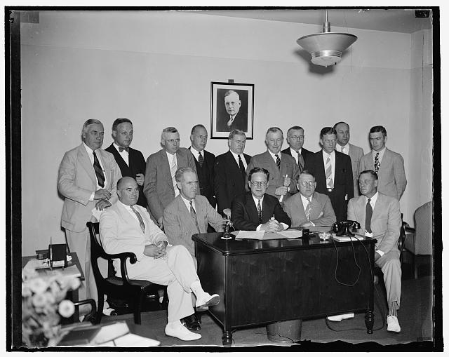 Republicans start ball rolling for 1938. Washington, D.C. Aug. 24. Looking forward to the 1938 Congressional elections, Chairman John Hamilton of the Republican National Committee met today with Republican State Chairmen from some fifteen states to map out an organization plan. In the photograph, left to right: (seated) Lyle Jackson, Nebraska; Harlan J. Bashfield, South Dakota; Chairman Hamilton; James C. Farmer, New Hampshire; and Pierce Brereton, Rhode Island. Standing, left to right: William S. Murray, New York; Ed. D. Schorr, Ohio; James E. Thomson, Michigan; Sinclair Weeks, Massachusetts; John Tyrrell, Illinois; F.G. Todd, Kansas; Lawrence Cobb, California; C.R. Ahalt, Virginia; Edward J. Samp, Wisconsin; and L. R. Dovell, Virginia. 8/24/37